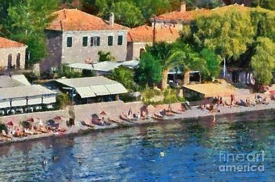 Painting - Molyvos Beach by George Atsametakis