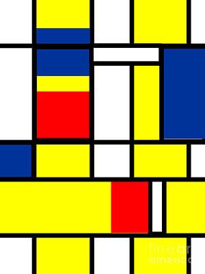 Mondrian Digital Art - Mondrian Rectangles  by Celestial Images