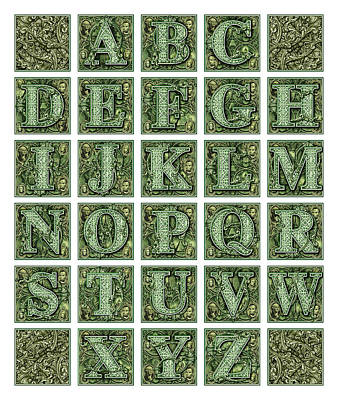 Digital Art - Money Alphabet by James Larkin