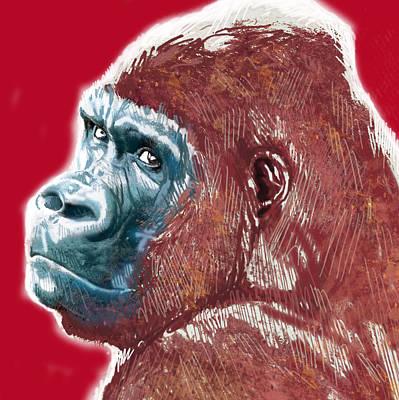 Monkey Drawing - Monkey - Stylised Drawing Art Poster by Kim Wang