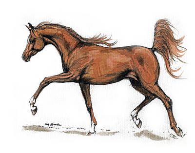 Running Horse Drawing - Monogramm by Angel  Tarantella