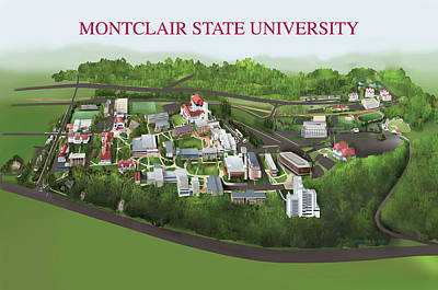 Campus Maps Drawing - Montclair State University by Rhett and Sherry  Erb