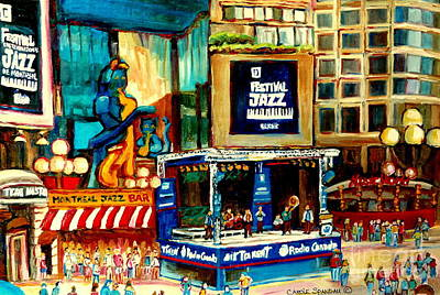 Plateau Montreal Painting - Montreal International Jazz Festival by Carole Spandau