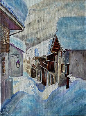 Chamonix Painting - Montroc Village by Danielle Arnal