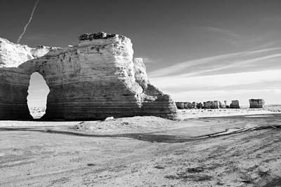 Monument Rocks Of Kansas In Black And White Art Print by Ellie Teramoto