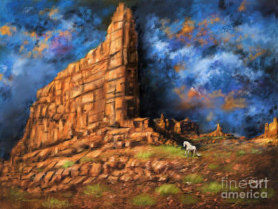 Art Print featuring the painting Monument Valley by S G