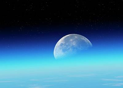 Curvature Photograph - Moon Over The Earth by Detlev Van Ravenswaay