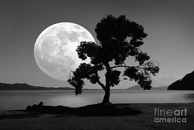 Moon Rising Over The Sea Print by Detlev van Ravenswaay