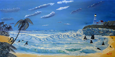 Oil Painting - Moonlight Cove by Ralston Art  And Design