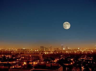 Moonrise Over Los Angeles Art Print by Detlev Van Ravenswaay