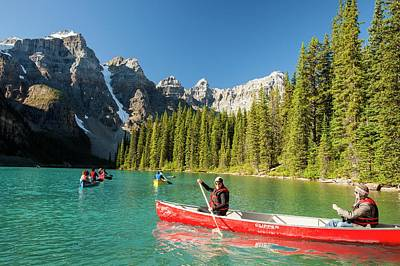 Kayaking Photograph - Moraine Lake In The Canadian Rockies by Ashley Cooper