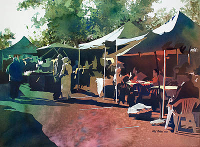 Awnings Painting - Morning Market by Kris Parins