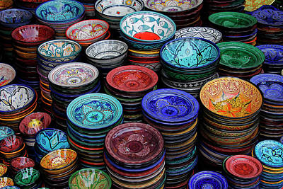 Glazed Pottery Photograph - Morocco, Marrakech by Kymri Wilt