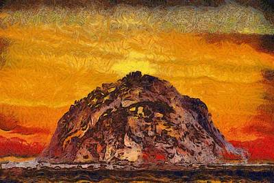 Burnt Digital Art - Morro Rock 3007 by Barbara Snyder