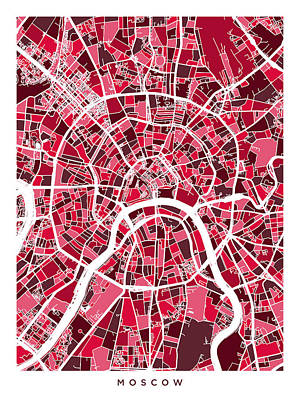 Russia Digital Art - Moscow City Street Map by Michael Tompsett