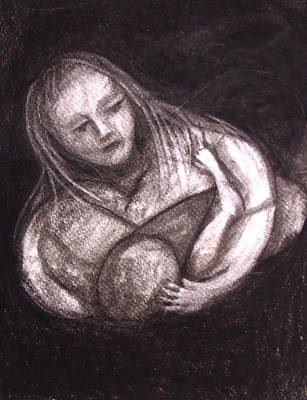 Drawing - Mother And Child by Angela Stout