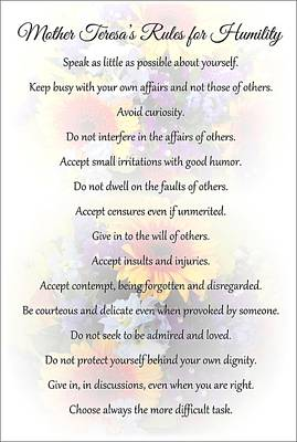 Mother Theresa's Rules For Humility Art Print