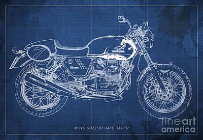 Moto Guzzi V7 Cafe Racer Art Print