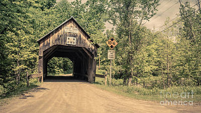 Photograph - Moxley Covered Bridge Chelsea Vermont by Edward Fielding