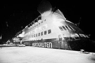 Ms Midnatsol Hurtigruten Cruise Ship Berthed In Tromso Harbour At Night Norway Europe Art Print