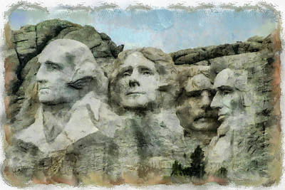 Mount Rushmore Digital Art - Mt Rushmore by Ernie Echols