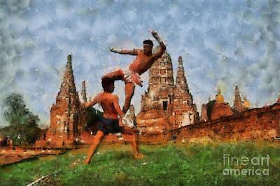 Muay Thai Arts Of Fighting Art Print by Rames Ratyantarakor