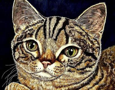 Gray Tabby Painting - Muffin by Sherry Dole