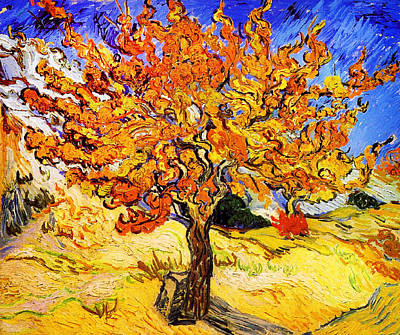 Yellow Painting - Mulberry Tree by Celestial Images