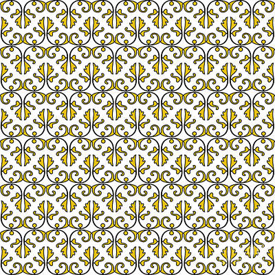 Digital Art - Mustard Yellow And White Vines by Jackie Farnsworth