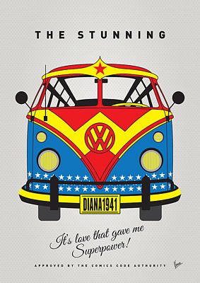Bus Digital Art - My Superhero-vw-t1-wonder Woman by Chungkong Art