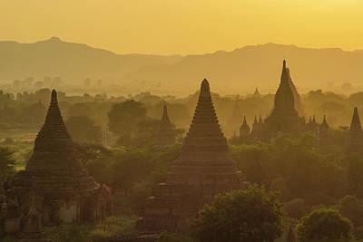 Myanmar Bagan Temples At Sunset Art Print