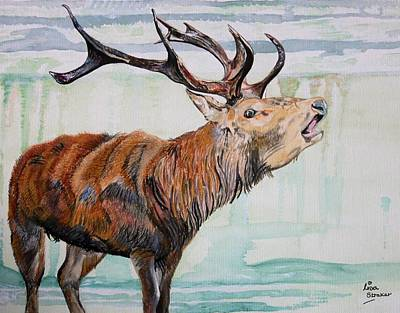 Leighton Moss Wall Art - Painting - Stag Animal Mystic Bellow Painting by Lisa Straker