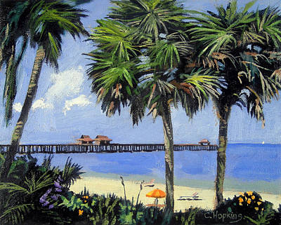 Egret Painting - Naples Pier Naples Florida by Christine Hopkins