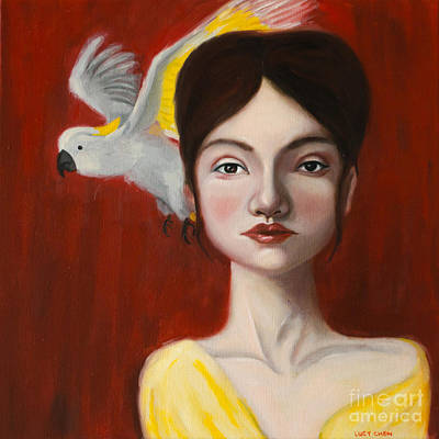 Painting - Natalie And Her White Bird by Lucy Chen