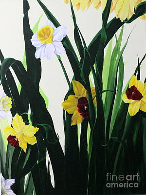 Daffodils Painting - Nature's Trumpets by D L Gerring