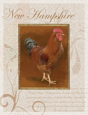 Caskey Wall Art - Digital Art - New Hampshire Rooster by Bethany Caskey