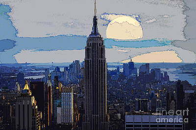 Skylines Mixed Media - New York City by Celestial Images