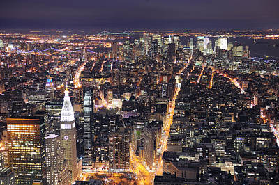 Photograph - New York City Manhattan Skyline Aerial View At Dusk by Songquan Deng
