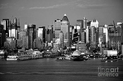 Photograph - New York City Skyline Black And White by Kathy Flood