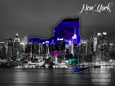 New York Map Mixed Media - New York Map And Skyline Watercolor by Marvin Blaine