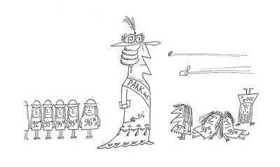 Dynamic Drawing - New Yorker December 7th, 1968 by Saul Steinberg