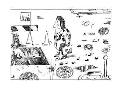 Puppy Drawing - New Yorker September 19th, 1977 by Saul Steinberg