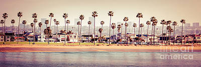 Newport Beach Skyline Retro Panorama Photo Print by Paul Velgos