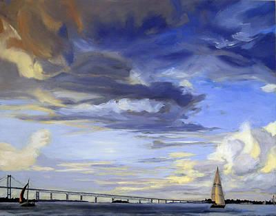 Shell Beach Inn Painting - Newport Bridge Newport Rhode Island by Christine Hopkins