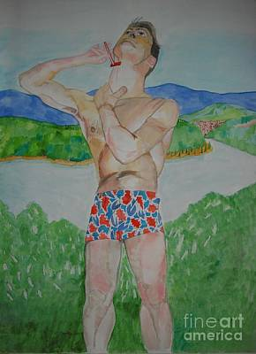 Painting - Niall Shaving  by Michelle Deyna-Hayward