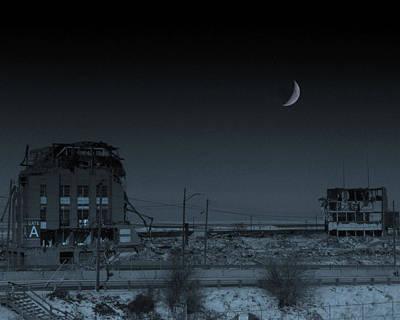 Night Falls For The Last Time On Cleveland Stadium Art Print by Kenneth Krolikowski