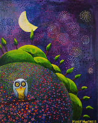 Fireworks Painting - Night Owl by Mindy Huntress