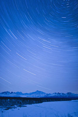 Night Time View Of Star Trails Over Mt Art Print