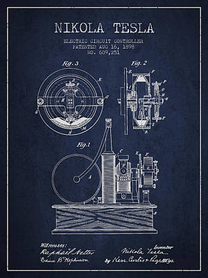 Magnetic Drawing - Nikola Tesla Electric Circuit Controller Patent Drawing From 189 by Aged Pixel