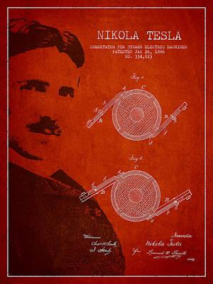 Nikola Tesla Patent From 1886 Art Print by Aged Pixel